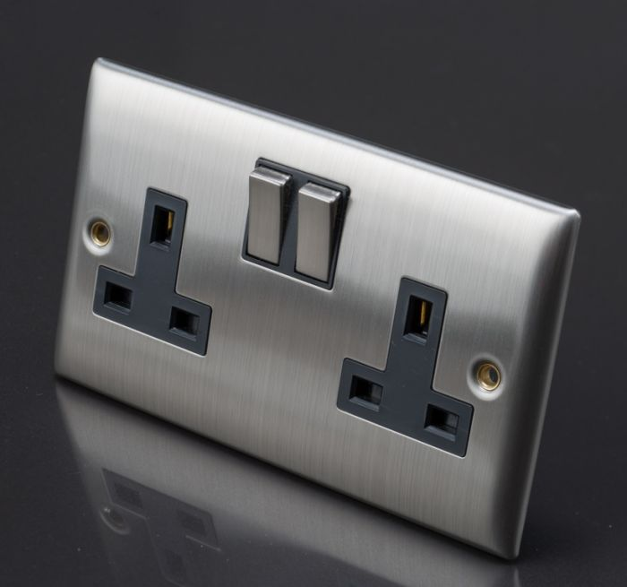 Lyvia Venetian Switch Socket 13A 2 Gang With Black Inserts