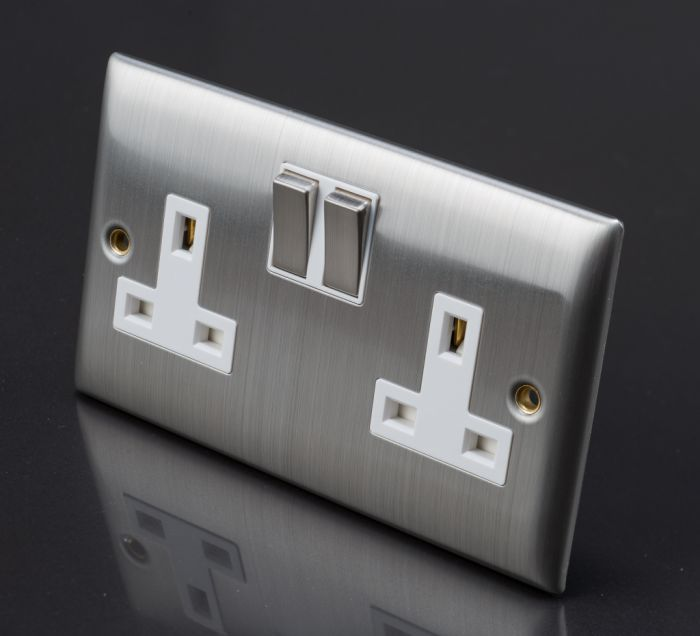 Lyvia Venetian Switch Socket 13A 2 Gang With White Insert