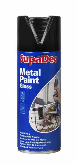 SupaDec Metal Spray Paint 400ml Gloss Black