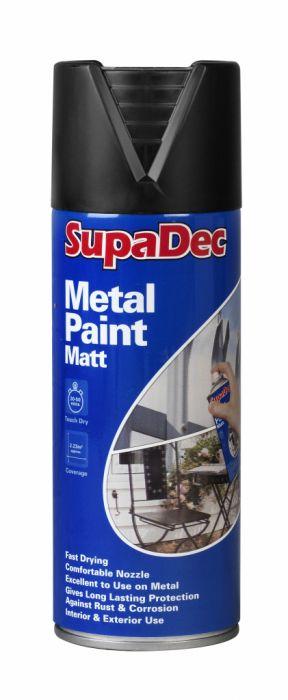 SupaDec Metal Spray Paint 400ml Matt Black