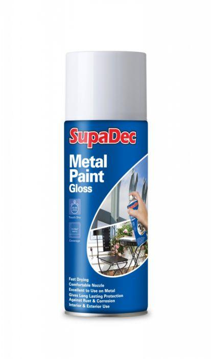SupaDec Metal Spray Paint 400ml Gloss White