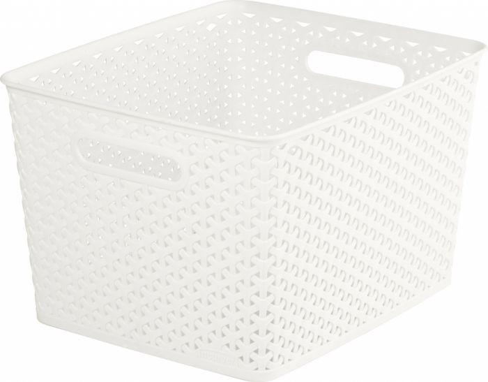 Curver Nestable Rattan Basket Vintage White 18L