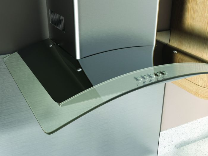Kitchenplus Curved Glass Cooker Hood 600mm