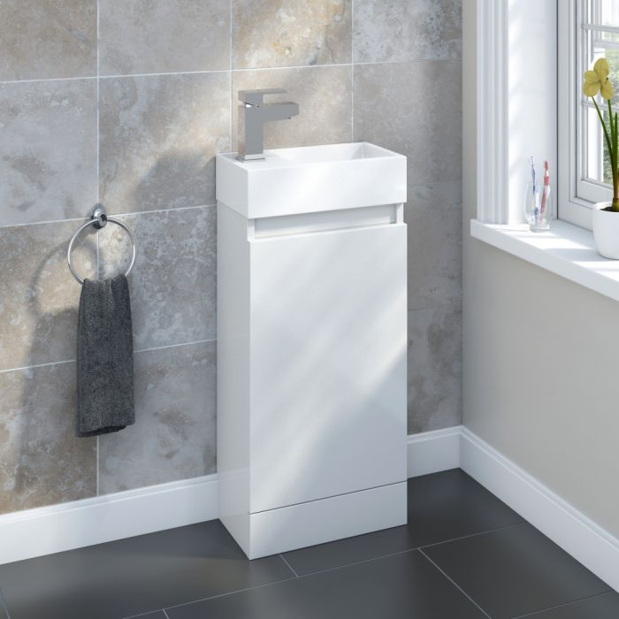 SP Epping Gloss White Floor Standing Unit 400mm W: 400mm H: 750mm D: 215mm