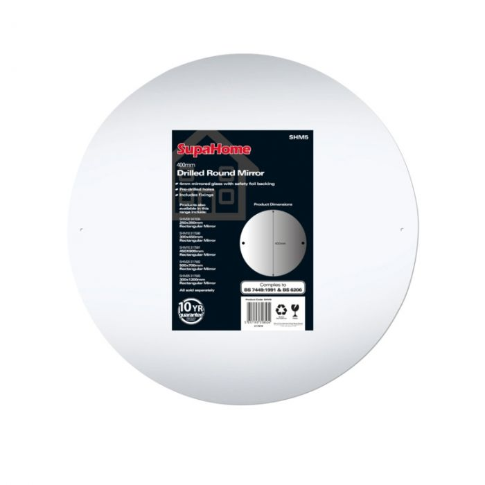 SupaHome Drilled Round Mirror 400mm
