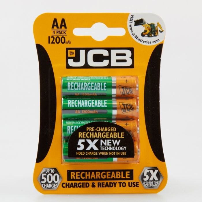 JCB Rechargeable AA Batteries Card 4 1200mAh