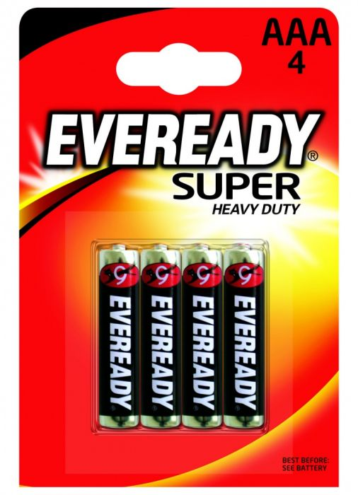 Eveready Super Heavy Duty Batteries AAA Pack 4