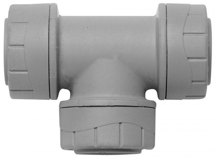 Polyplumb Equal Tee Grey 22mm