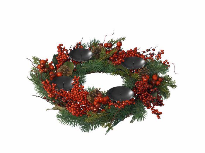 Deco Candleholder Wreath Berries Green Red