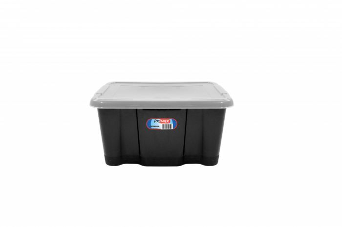 Premier Storage Box Black Base And Clear Lid 24Lt