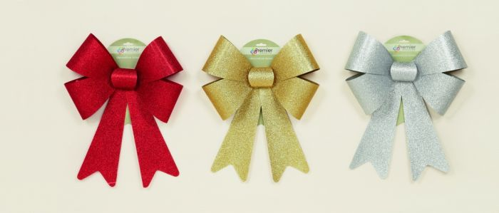 Glitter Bow Red Gold Silver