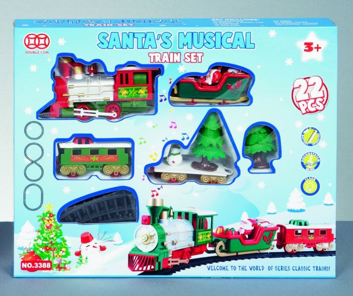 Battery Operated Xmas Train Set With Music - Jingle Bells