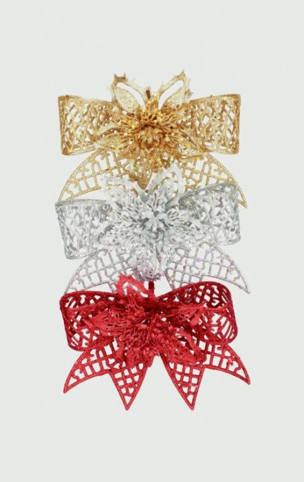 Glitter Bow With Flower