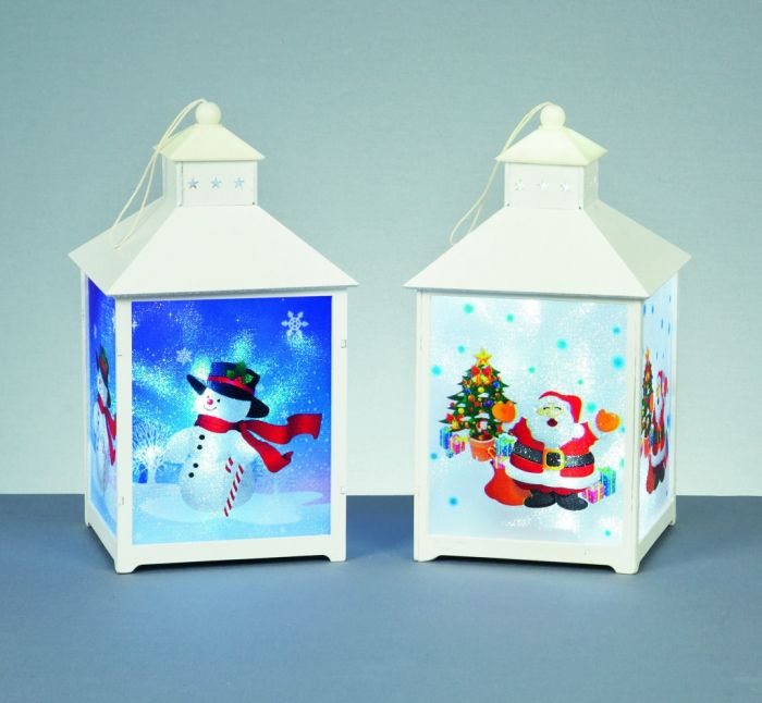 Battery Operated Xmas Character Lantern With Leds