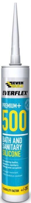 Everbuild Everflex 500 Bath & Sanitary Silicone 310ml Clear