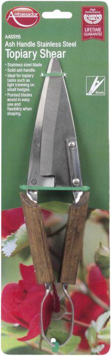 Ambassador Ash Handle Stainless Steel Topiary Shears Length: 30cm