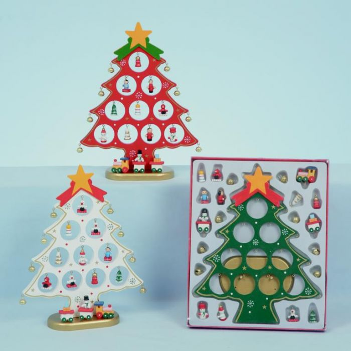 Wooden Tree With 10 Hanging Decorations