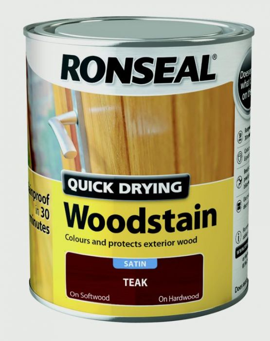 Ronseal Quick Drying Woodstain Satin 750ml Teak