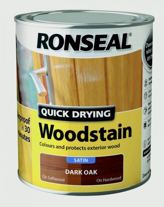 Ronseal Quick Drying Woodstain Satin 750ml Dark Oak
