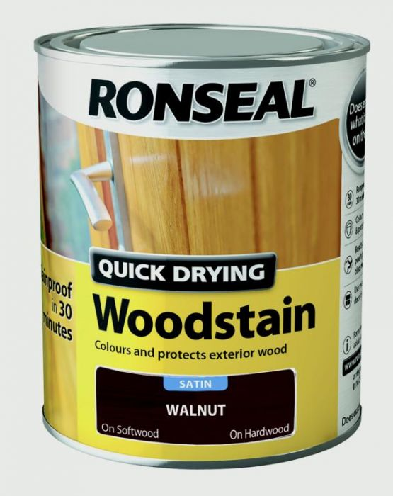 Ronseal Quick Drying Woodstain Satin 750ml Walnut