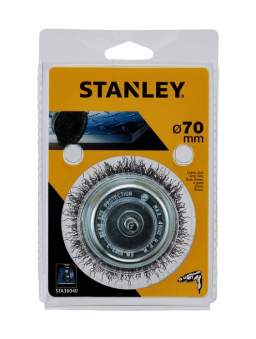 Stanley Crimped Steel Wire Cup Coarse 75mm