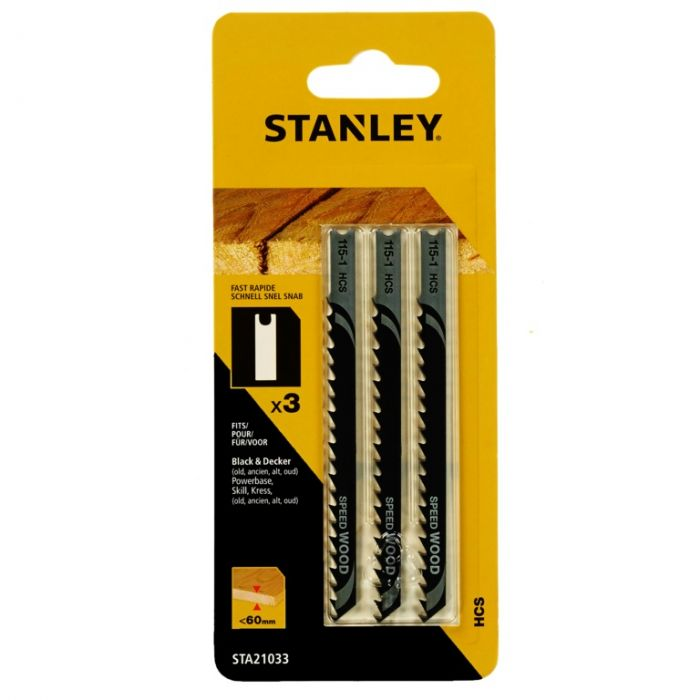 Stanley U-Shank HCS Jigsaw Blade 100mm Pack 3