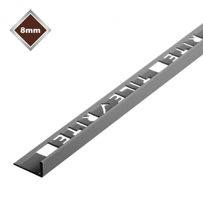 Tile Rite L Profile Trim 8Mm X 2.44M Grey Plastic