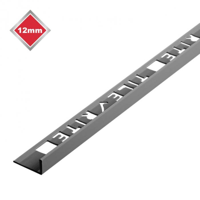 Tile Rite L Profile Trim 12Mm X 2.44M Grey Plastic