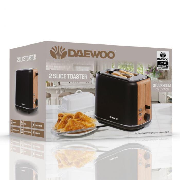 Daewoo Stockholm Toaster 2 Slice Black