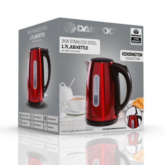 Daewoo Kensington Jug Kettle 1.7L Red