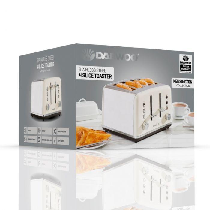 Daewoo Kensington Toaster 4 Slice Cream