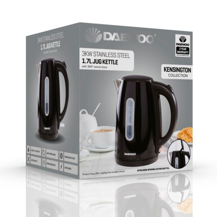 Daewoo Kensington Jug Kettle 1.7L Black