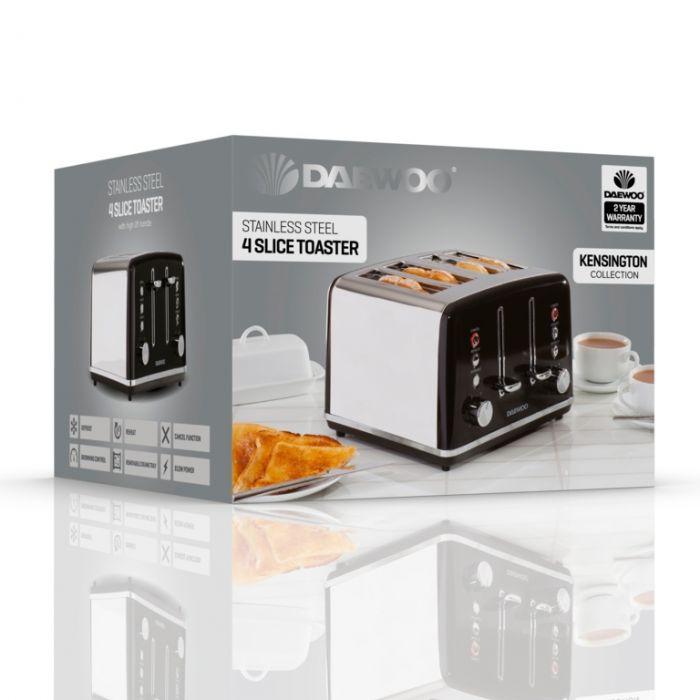 Daewoo Kensington Toaster 4 Slice Black