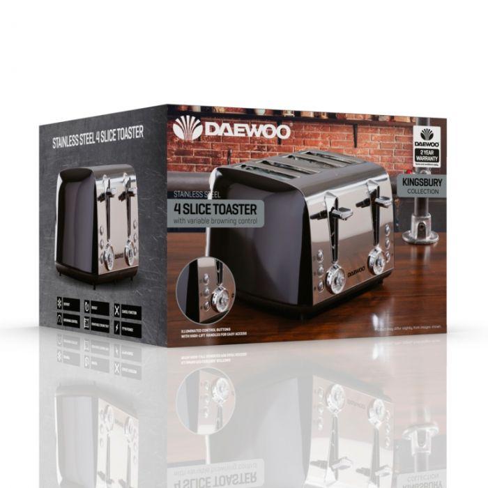 Daewoo Kingsbury Stainless Steel Dial Toaster 4 Slice