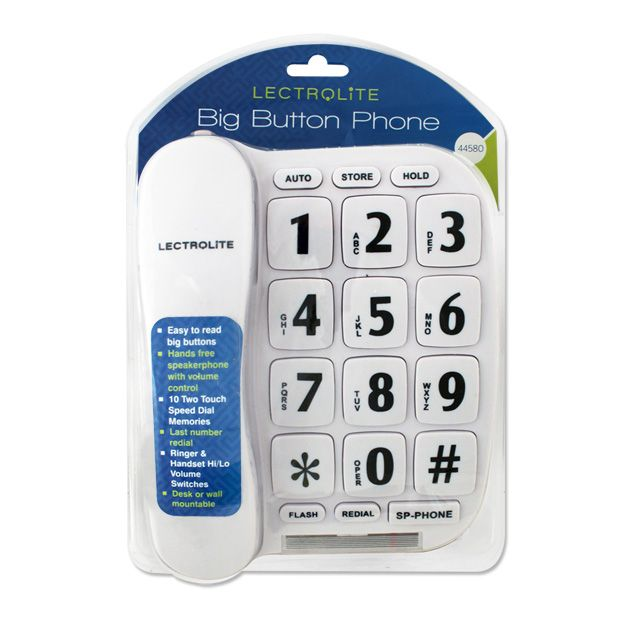 Lectrolite Jumbo Button Phone White