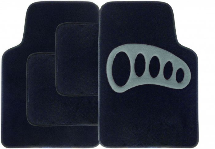 Streetwize Carpet Mat Set - 4 Piece Black With Grey Heel Pad