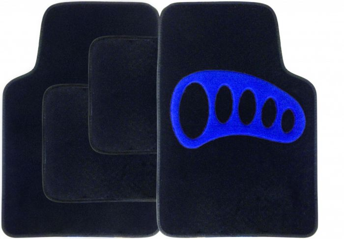 Streetwize Carpet Mat Set 4 Piece Black With Blue Heel Pad