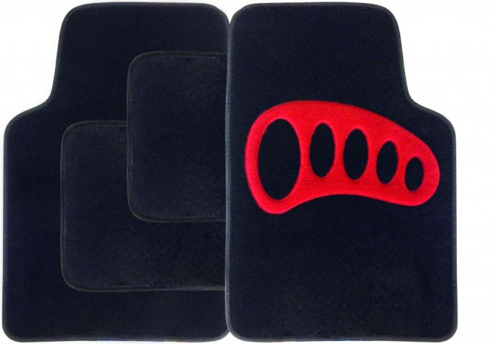 Streetwize Carpet Mat Set 4 Piece Black With Red Heel Pad