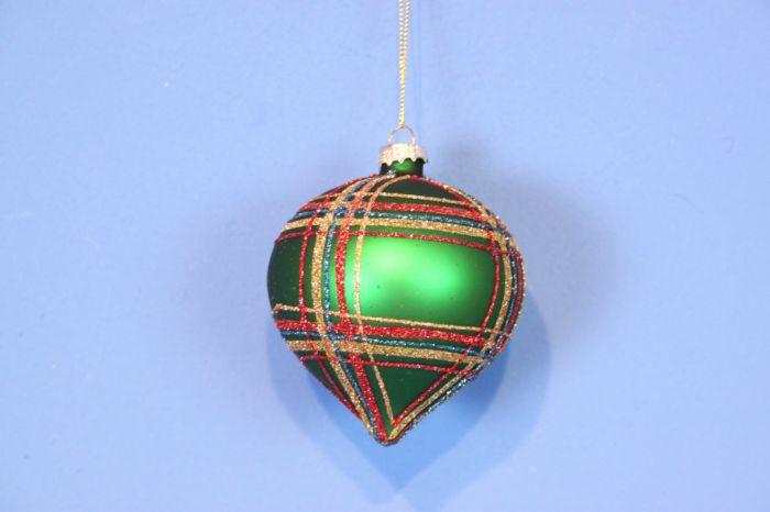 Glass Glitter Green Tartan Onion