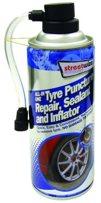 Streetwize Tyre Puncture Repair Sealer & Inflator 450Ml