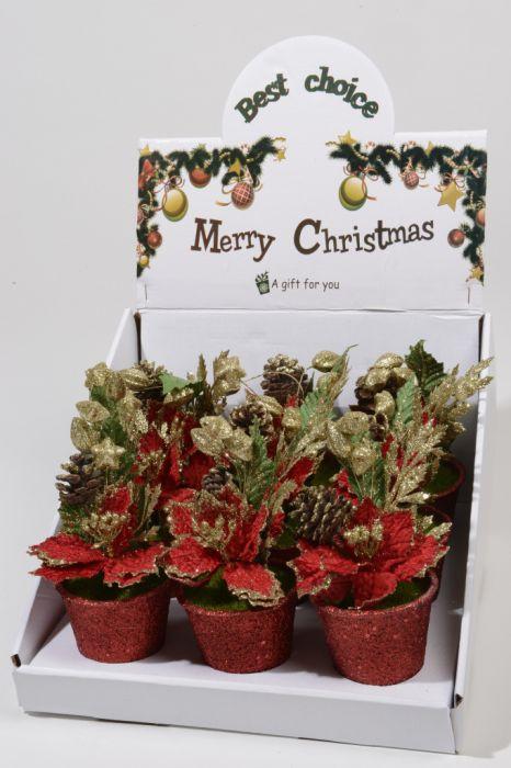 Velvet Poinsettia Glitter Pot