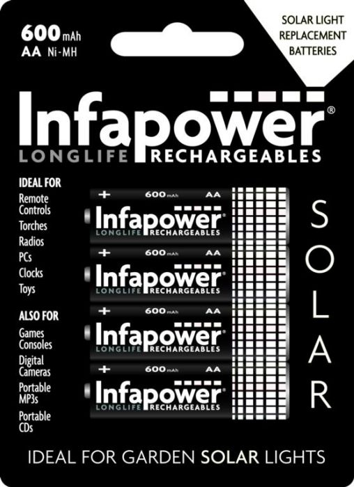 Infapower Aa 600Mah Nimh Rechargeable Batteries Pack 4