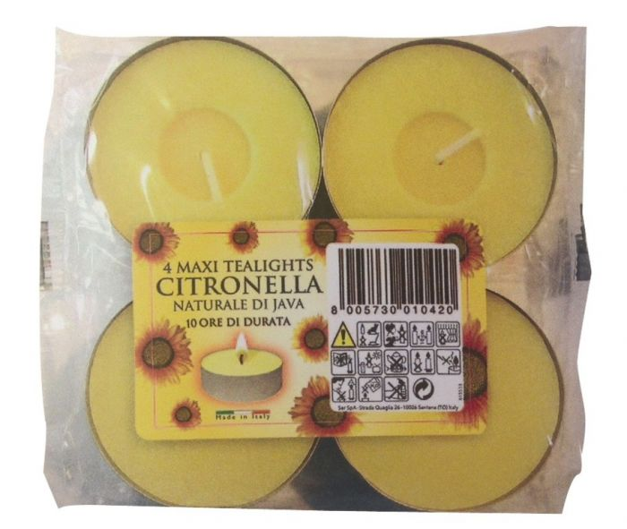 Price's Candles Citronella Maxi Tealights Pack 4