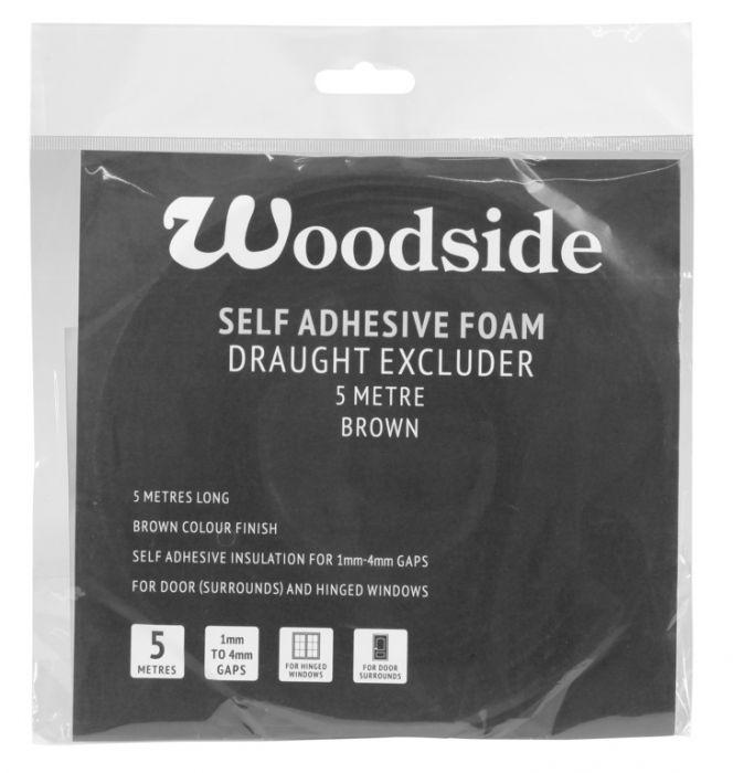 Woodside Self Adhesive Foam Draught Excluder 5M Brown
