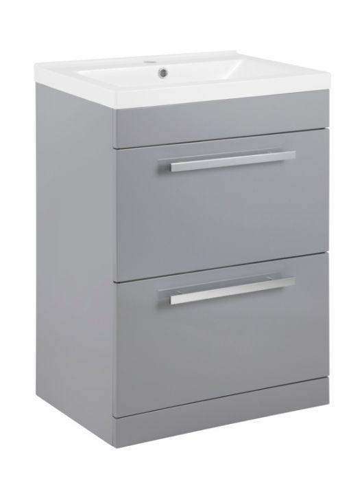 Sp Avalon 2 Drawer Grey Basin Unit 600Mm