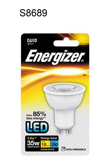 Energizer Gu10 Warm White Blister Pack 3.6W