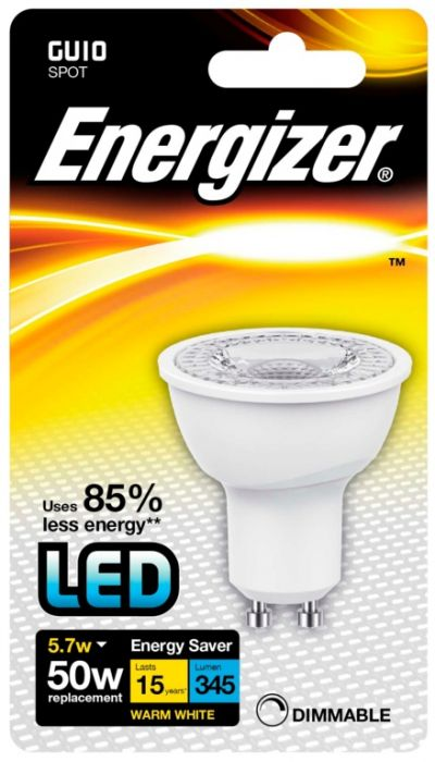 Energizer Gu10 Warm White Blister Pack 5.5W Dimmable