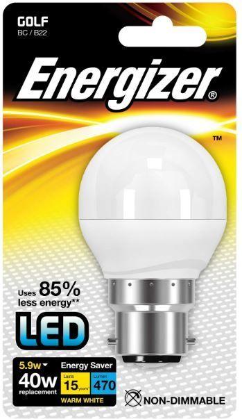 Energizer B22 Warm White Blister Pack Golf 5.9W