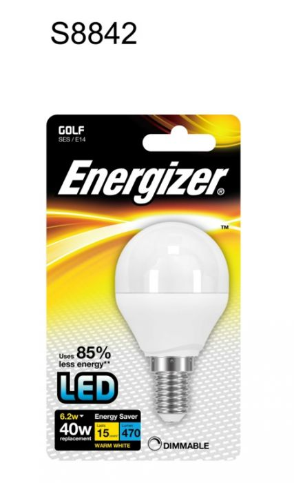 Energizer Led E14 Golf Ball Lamp Warm White 6.2W Ses Fitting Dimmable