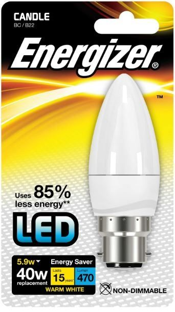 Energizer B22 Warm White Blister Pack Candle 5.9W 470Lm